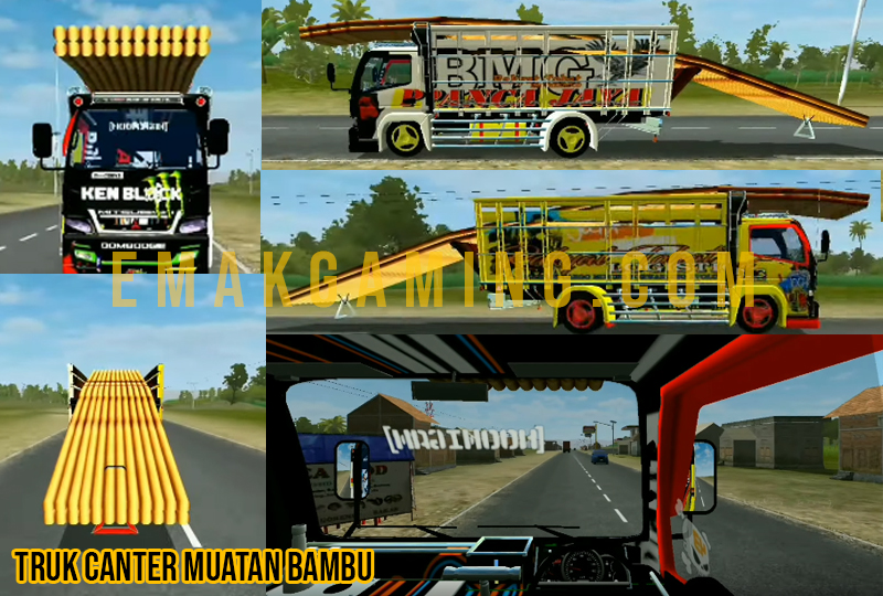 mod bussid truk canter muatan bambu