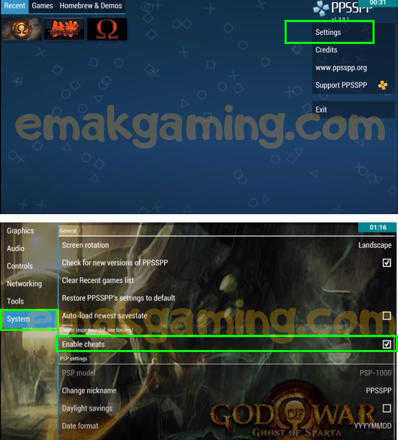 cara pasang cheat god of war